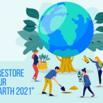 """Earth Day 2021 logo says """"Restore Our Earth"""""""